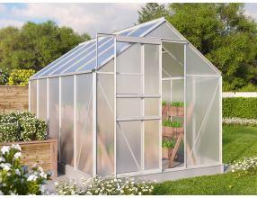 Zahradní skleník Vitavia TARGET 6200 PC 4 mm stříbrný  + další otvírač okna