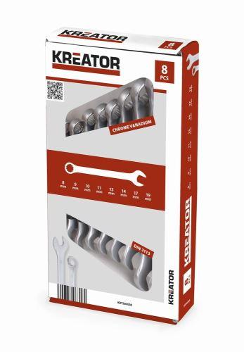 Sada klíčů KREATOR KRT500008 - Sada klíčů očko/otevřený 8-19mm 8ks