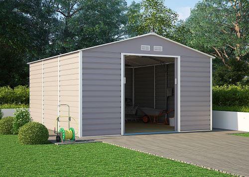 Kovový zahradní domek G21 GAH 1300, 340 x 383 cm, šedý, 63900581