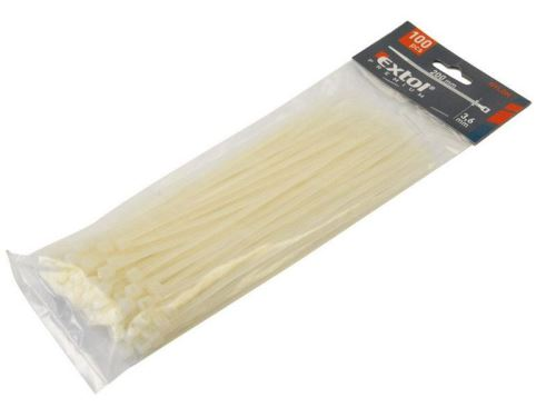 Páska stahovací EXTOL PREMIUM pásky na vodiče, 2,5x150mm, 100ks, bílé 8856104