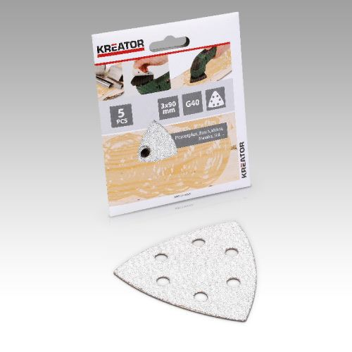 Příslušenství k trojúhelníkové brusce KREATOR KRT210057 5X Brusný papír 3X90 na barvu - G120