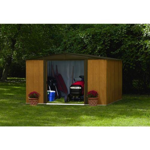 Kovový zahradní domek Arrow Woodlake 1012 dřevodekor - 313 x 370 cm