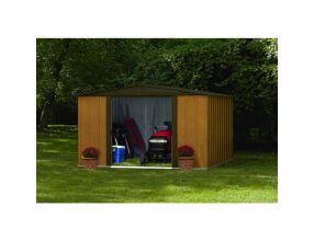 Kovový zahradní domek Arrow Woodlake 1012 dřevodekor - 313 x 370 cm se základnou
