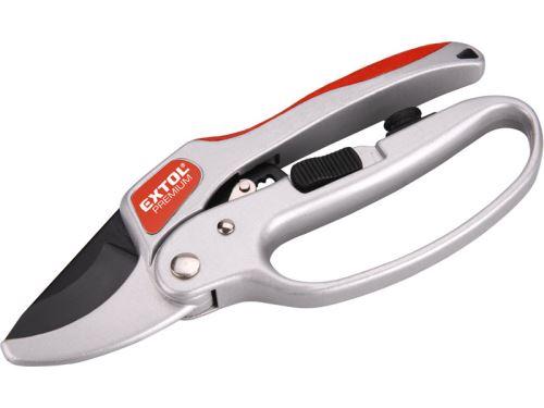 Jednoruční nůžky EXTOL PREMIUM nůžky zahradnické s rohatkovým převodem, 205mm, s olejničkou, na stříhání větví do průměru 24mm, SK5, 8872180