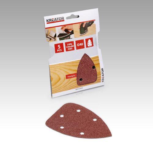 Příslušenství k trojúhelníkové brusce KREATOR KRT220003 5X Brusný papír 140X140X80 - G40