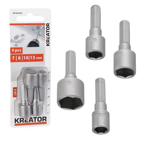 Nástrčná hlavice KREATOR KRT062400 4 ks Nástrčných klíčů 7,8,10,13MM