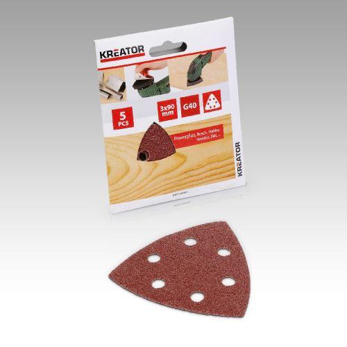 Příslušenství k trojúhelníkové brusce KREATOR KRT210007 5X Brusný papír 3X90 - G120