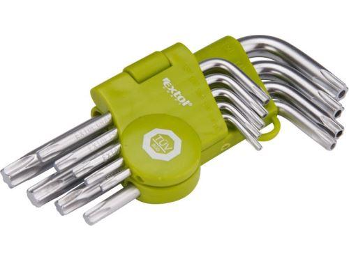 Klíč TORX EXTOL CRAFT L-klíče TORX krátké, sada 9ks, T10-15-20-25-27-30-40-45-50